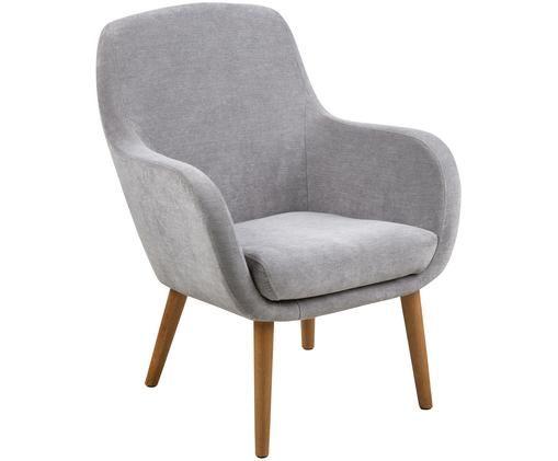 Sessel Sally in Grau, Bezug: Polyester, Beine: Eichenholz, geölt, Webstoff Grau, B 72 x T 72 cm