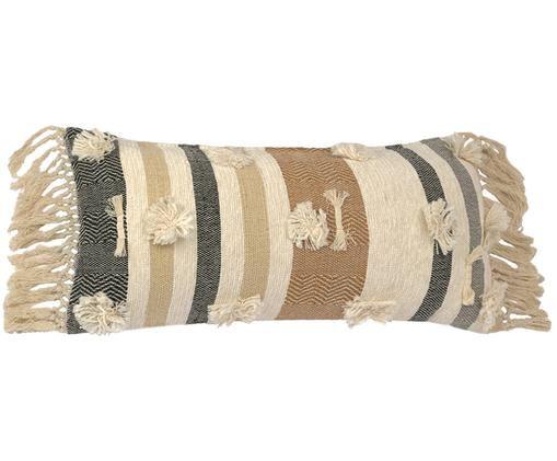 Gestreifte Kissenhülle Colors mit Fransen, Beige, Braun, Schwarz
