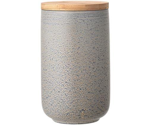 Scatola custodia fatta a mano Kendra, Coperchio: bambù, silicone, Grigio, tonalità beige, Ø 12 x A 21 cm