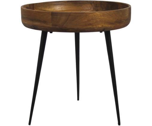 Beistelltisch Ventura im Industrial Stil, Mangoholz, Metall, Braun, Schwarz, Ø 40 x H 42 cm