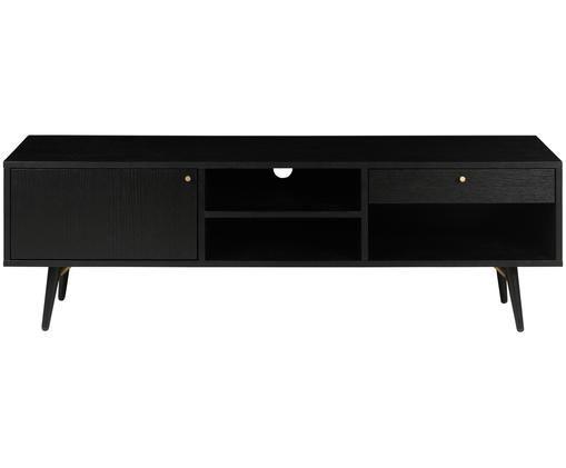 Schwarzes TV-Lowboard Verona, Korpus: Mitteldichte Holzfaserpla, Beine: Metall, pulverbeschichtet, Schwarz, 117 x 50 cm