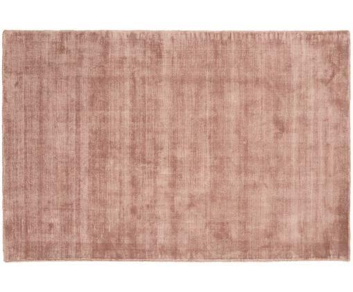 Alfombra artesanal de viscosa Jane, Parte superior: 100%viscosa, Reverso: 100%algodón, Terracota, An 120 x L 180 cm (Tamaño S)