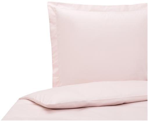 Baumwollsatin-Bettwäsche Premium mit Stehsaum, Rosa, 135 x 200 cm
