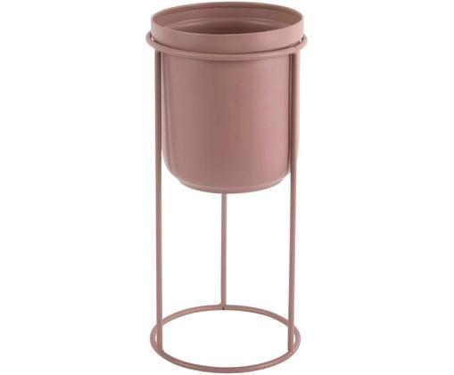 Portavaso Tub, Metallo rivestito, Rosa cipria, Ø 12 x Alt. 27 cm
