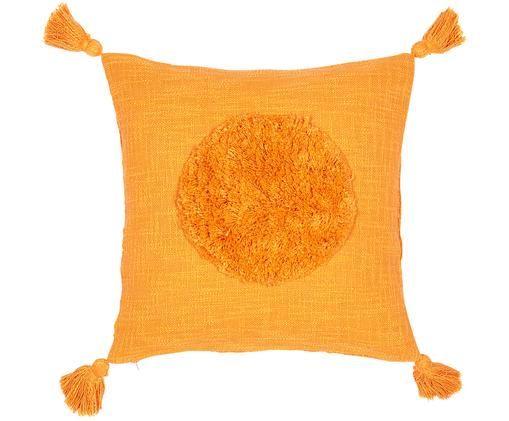 Grob gewebte Kissenhülle Sun aus Bio-Baumwolle mit Tasseln, Bio-Baumwolle, Gelb, 45 x 45 cm