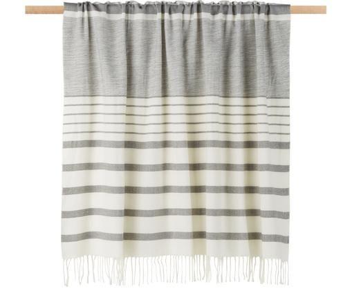 Plaid Hamam, Acryl, Grau, Weiß, 130 x 170 cm