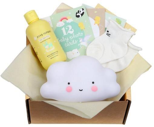 Komplet prezentowy Welcome Little Baby, 15 elem., Żółty, biały, S 19 x W 12 cm