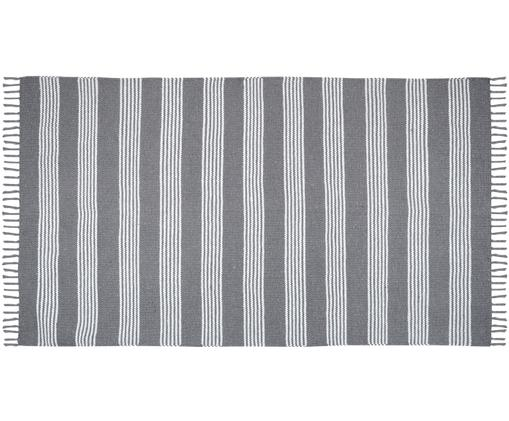 Tappeto in cotone con strisce Harlan, Cotone, Antracite, bianco, Larg. 90 x Lung. 150 cm (taglia XS)