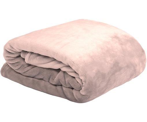Miękki pled z polaru Doudou, Poliester, Pudrowy różowy, S 130 x D 160 cm