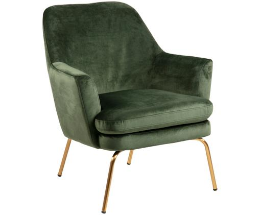 Fluwelen fauteuil Chisa, Bekleding: polyester fluweel, Poten: gelakt metaal, Woudgroen, messingkleurig, B 74 x D 73 cm