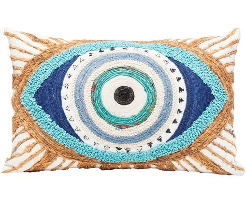 Coussin fait main brodé à décor en jute Ethno Eye, Blanc, beige, bleu