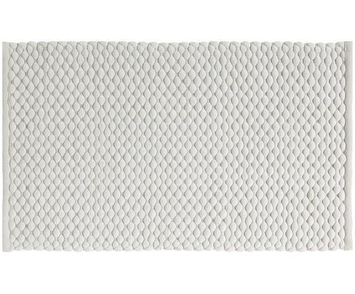 Tappeto bagno in morbido velluto Maks, 70% velluto di cotone, 30% polipropilene, Bianco latteo, Larg. 70 x Lung. 120 cm