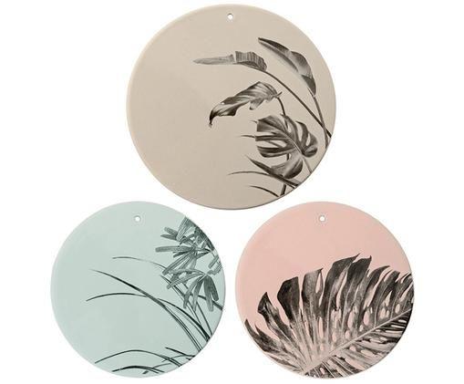 Ensemble de décorations murales Sooji, 3 élém., Brun, bleu ciel, rose
