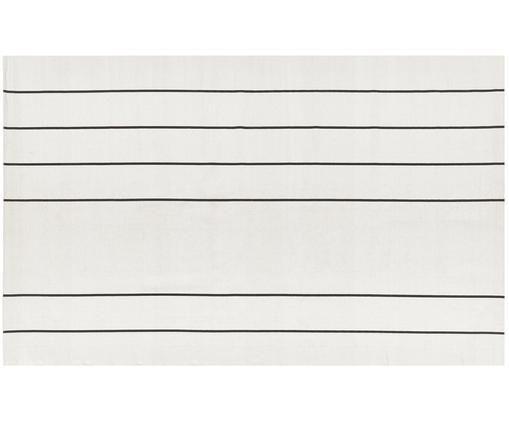 Handgewebter Baumwollteppich David mit Linien, Baumwolle, Cremeweiß, Schwarz, B 50 x L 80 cm (Größe XXS)