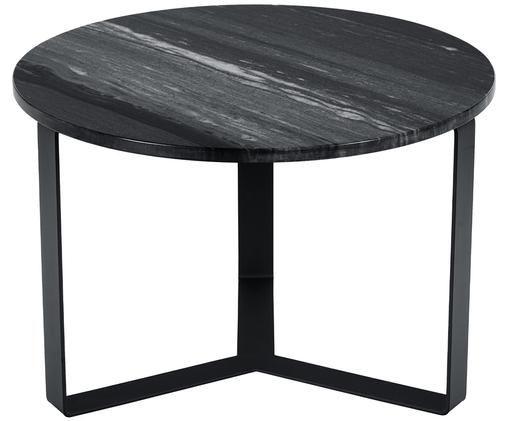 Okrągły stolik kawowy z marmuru Theo, Blat: marmur, Stelaż: metal powlekany, Czarny marmur, czarny, Ø 60 x W 40 cm