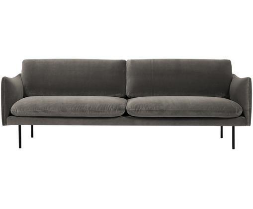 Samt-Sofa Moby (3-Sitzer), Bezug: Samt (Hochwertiger Polyes, Gestell: Massives Kiefernholz, Füße: Metall, pulverbeschichtet, Samt Braungrau, B 220 x T 95 cm