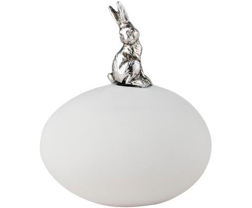 Dekoracja Semina, Poliresing, Biały, odcienie srebrnego z antycznym wykończeniem, S 7 x W 8 cm
