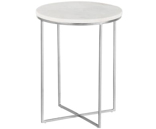 Mesa auxiliar redonda de mármol Alys, Tablero: mármol blanco grisáceo ligeramente brillante Estructura: plateado mate