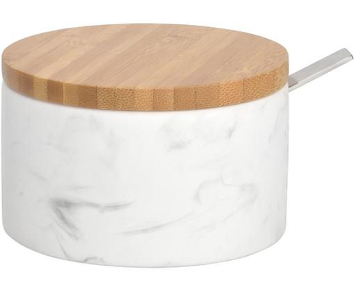 Zuckerdose Kalina mit Löffel, Deckel: Bambus, Löffel: Metall, Weiß, marmoriert, Bambus, Ø 13 x H 7 cm