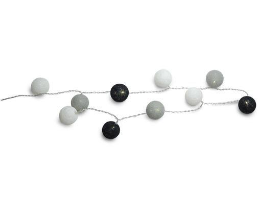 Girlanda świetlna Ball, Tworzywo sztuczne, tkanina, Szary, czarny, biały, 150 cm