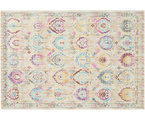 Tapis à poils ras Kashan Vintage, Beige, multicolore