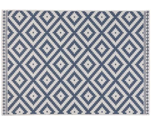 Dwustronny dywan wewnętrzny/zewnętrzny Miami Beach, Niebieski, kremowy