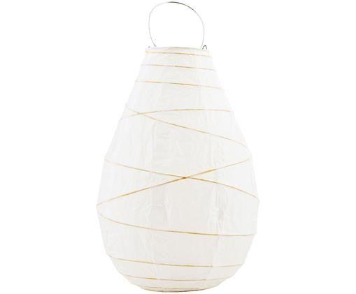 Papier-Windlicht Drop, Windlicht: Papier, Dekor: Bambus, Griff: Metall, Weiß, Bambus, Metall, Ø 20 x H 30 cm