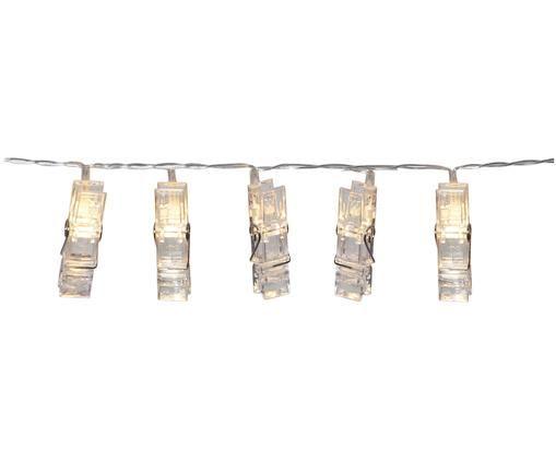 LED Lichterkette Clippy, 135 cm, Kunststoff, Transparent, L 135 cm