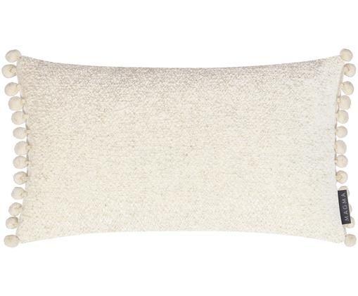 Poszewka na poduszkę bouclé  z pomponami Noa, Beżowy, S 26 x D 46 cm