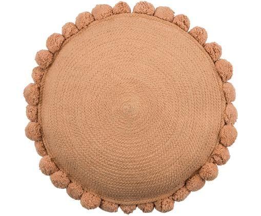 Okrągła poduszka z juty z wypełnieniem Pom Pom, Juta, Brązowy, Ø 40 cm
