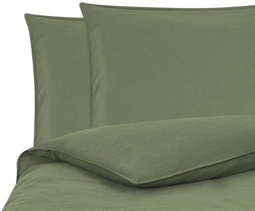 Soft-Washed Leinen-Bettwäsche Carla, Olivgrün