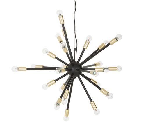 Lampada a sospensione Spike, Baldacchino: metallo rivestito, Paralume: metallo rivestito, Nero, dorato, Ø 90 cm
