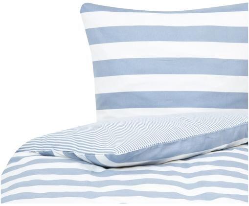 Flanell-Wendebettwäsche Dora, gestreift, Weiß, Hellblau