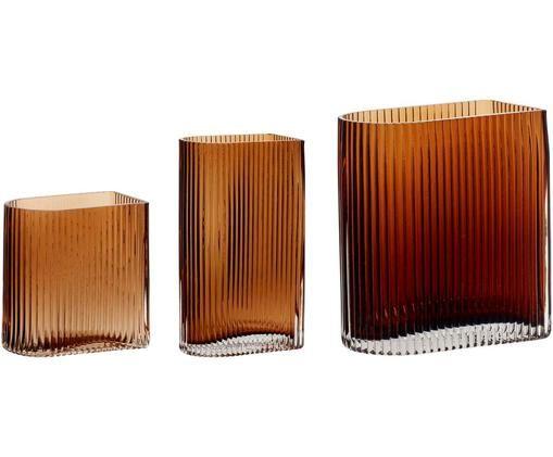 Komplet wazonów ze szkła Bernhard, 3 elem., Szkło, Odcienie bursztynowego, Różne rozmiary