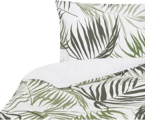 Funda nórdica doble cara Aires, Algodón, Blanco, tonos verdes, Cama 90 cm (160 x 220 cm)