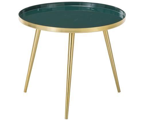 Table basse Amalia, Plateau: vert foncé Pieds de table: couleur dorée