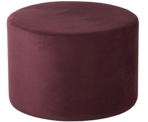 Puf z aksamitu Daisy, Tapicerka: aksamit (poliester) Tkani, Ciemny czerwony, Ø 62 x W 41 cm