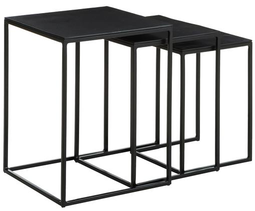 Set 3 tavolini Dwayne, Ripiani: alluminio rivestito, Struttura: metallo verniciato, Nero con finitura antica, Diverse dimensioni