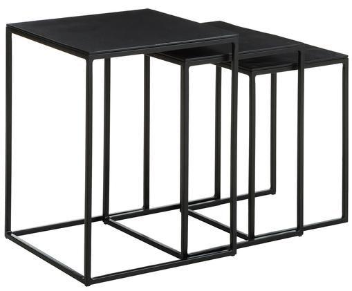Set 3 tavolini in metallo Dwayne, Ripiani: alluminio rivestito, Struttura: metallo verniciato, Nero con finitura antica, Diverse dimensioni