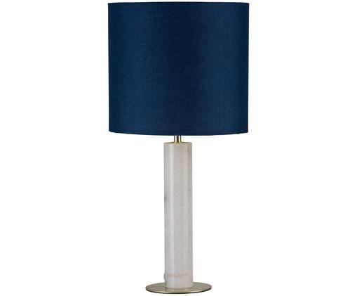 Lampe à poser en marbre Olar, Bleu foncé, blanc