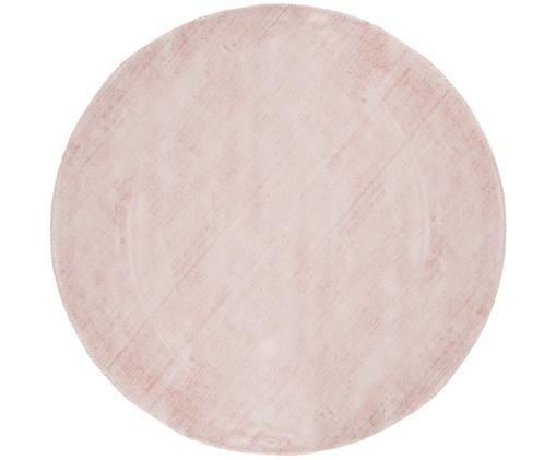 Tappeto rotondo in viscosa Jane, Vello: 100% viscosa, Retro: 100% cotone, Rosa, Ø 120 cm