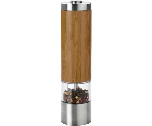 Solniczka i pieprzniczka z drewna bambusowego i stali szlachetnej Lonka, Drewno bambusowe, stal nierdzewna, Drewno bambusowe, transparentny, stal, Ø 6 x W 22 cm