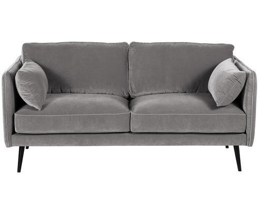 Sofa z aksamitu Paola (2-osobowa), Tapicerka: aksamit (poliester) 7000, Stelaż: masywne drewno świerkowe,, Nogi: drewno świerkowe, lakiero, Szary, S 179 x G 95 cm