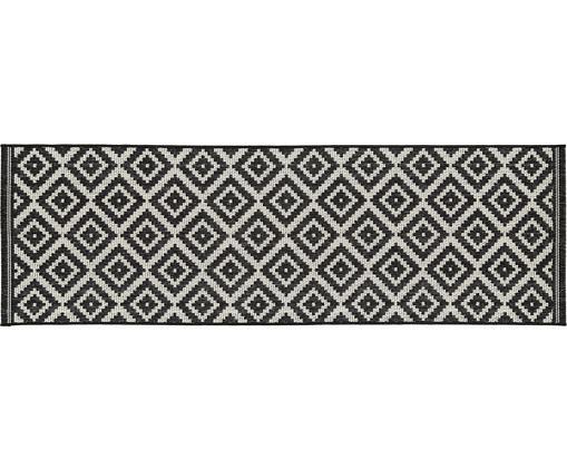 Gemusterter In- & Outdoorläufer Miami, Flor: Polypropylen, Cremeweiß, Schwarz, 80 x 250 cm