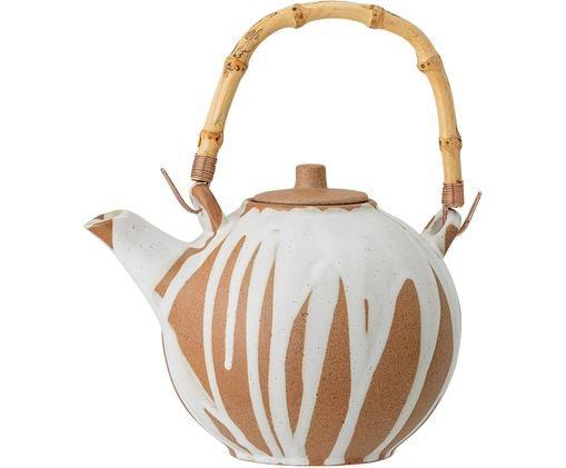 Tetera artesanal Camellia, Gres, bambú, acero inoxidable, Blanco, terracota, 800 ml
