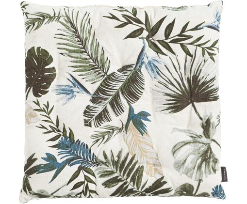 Sitzkissen Jungle mit Blattmuster, Baumwolle, Gebrochenes Weiß, 40 x 40 cm