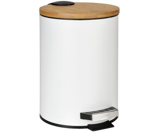 Abfalleimer Ran mit Pedal-Funktion, Korpus: Metall, lackiert, Deckel: Bambusholz, Behälter: Kunststoff, Weiß, Bambusholz, Ø 18 x H 27 cm