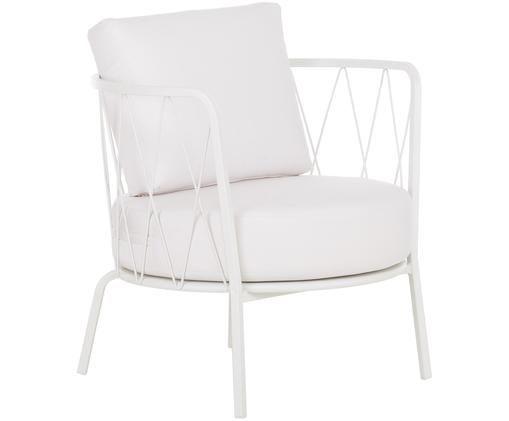 Garten-Loungesessel Sunderland mit Sitzpolster, Gestell: Stahl, galvanisch verzink, Bezug: Polyacryl, Weiß, B 74 x T 61 cm