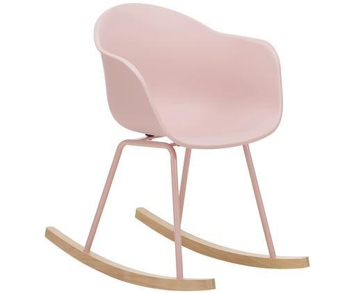 Schommelstoel Claire met sleden, Zitvlak: kunststof, Poten: gepoedercoat metaal, Frame: beukenhout, Zitvlak: roze. Poten: roze. Frame: beukenhoutkleurig, B 61 x D 80 cm