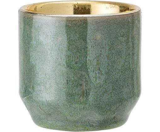 Teelichthalter Punti, Steingut, Grün, Goldfarben, Ø 6 x H 6 cm
